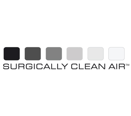 Black and white logo for surgically clean air in Hillsboro
